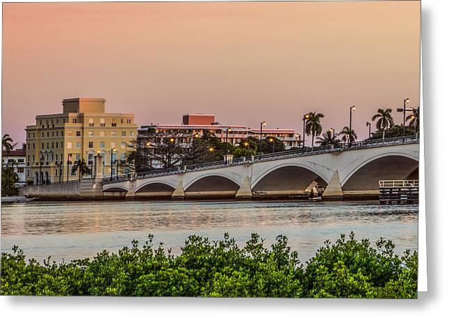 Flagler Bridge In The Evening I Greeting Card