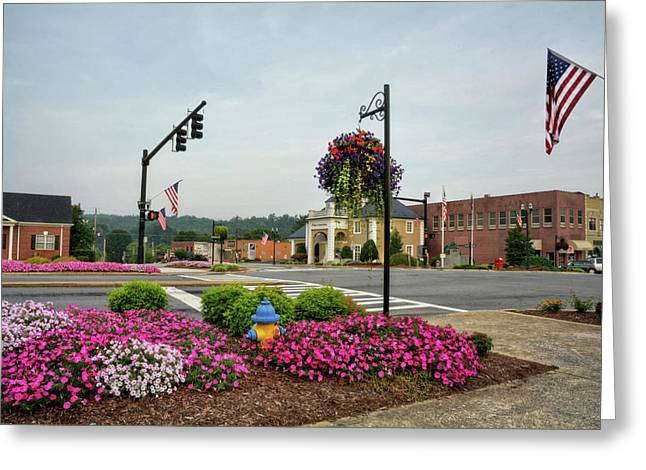 Flags And Flowers In Murphy North Carolina Greeting Card