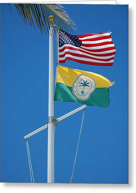 Flags At Beach Patrol Hq - Miami Greeting Card