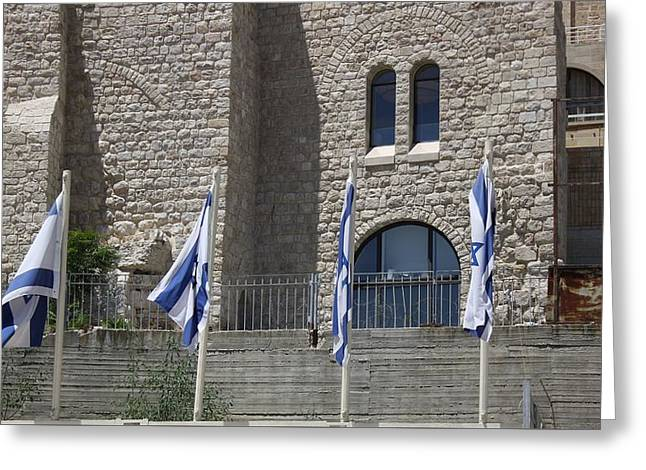 Greeting Card featuring the photograph Flags At The Kotel by Julie Alison