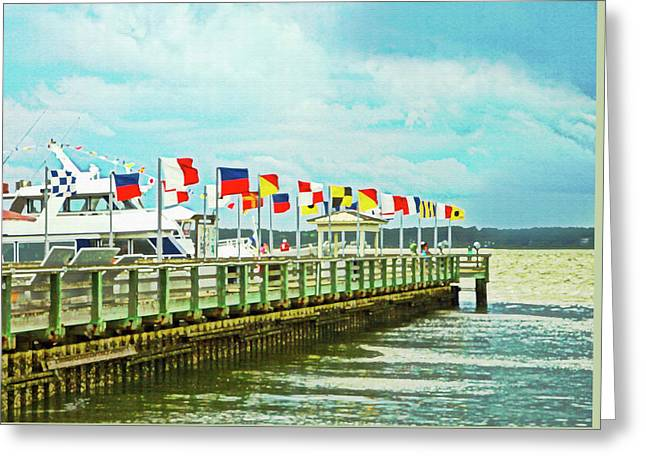 Flags At The Pier Greeting Card