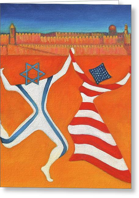 Flags Dancing With Israeli Man And American Woman       Greeting Card by Jane  Simonson