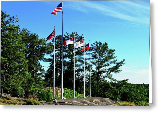 Flags Of Stone Mountain  Greeting Card