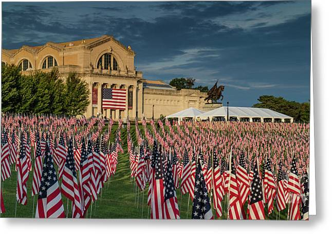 Flags Of Valor On Art Hill Greeting Card by Garry McMichael