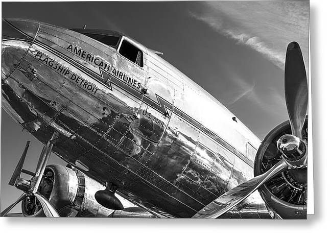 Flagship Detroit Black And White Greeting Card