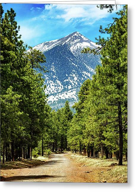 Flagstaff Arizona Road To Mountains Greeting Card by Susan Schmitz