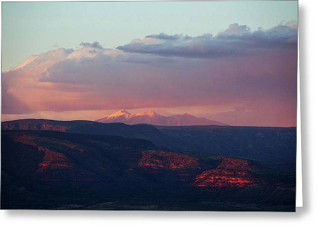 Greeting Card featuring the photograph Flagstaff's San Francisco Peaks Snowy Sunset by Ron Chilston