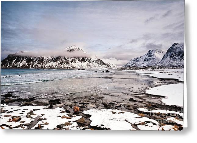 Flakstad Bay Greeting Card by Janet Burdon