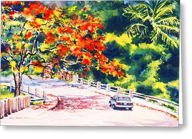 Flamboyant At Crashboat Beach Greeting Card by Estela Robles