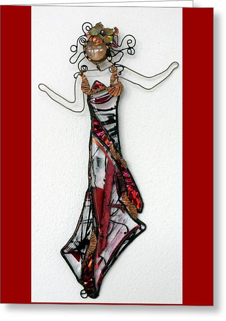 Flame Dancer Greeting Card by Maxine Grossman