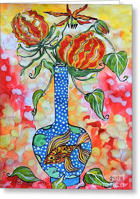 Flame Lily In Goldfish Vase Greeting Card
