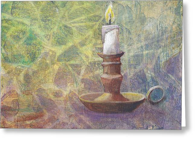 Candle Lit Paintings Greeting Cards - Flame of Hope Greeting Card by Arlissa Vaughn