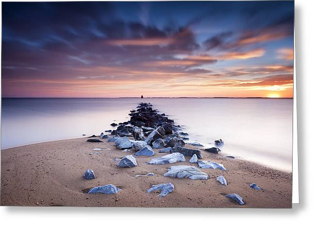 Greeting Card featuring the photograph Flame On The Horizon by Edward Kreis