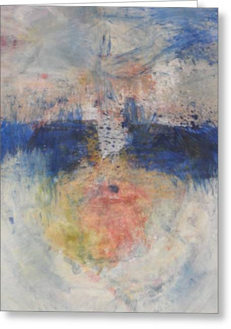 Greeting Card featuring the painting Flame Reflections by John Fish