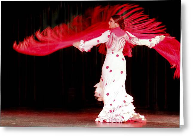 Flameco Dancer With Swirling Red Scarf Greeting Card