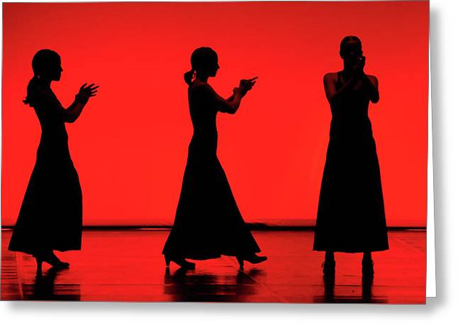 Greeting Card featuring the photograph Flamenco Red An Black Spanish Passion For Dance And Rithm by Pedro Cardona