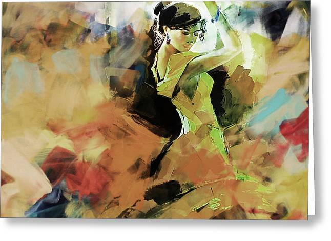 Greeting Card featuring the painting Flamenco 56y3 by Gull G