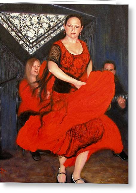 Greeting Card featuring the painting Flamenco 8 by Donelli  DiMaria