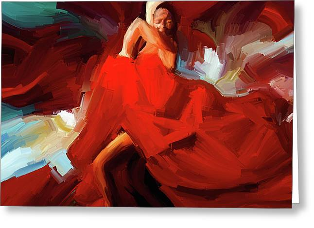 Greeting Card featuring the painting Flamenco Dance 7750 by Gull G
