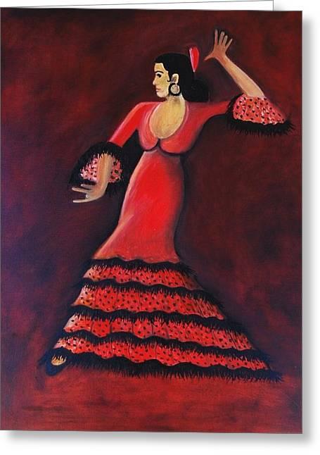 Flamenco Dancer Greeting Card by Janine Antulov