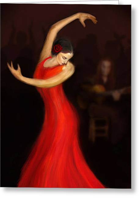 Flamenco Dancer Greeting Card by John Edwards