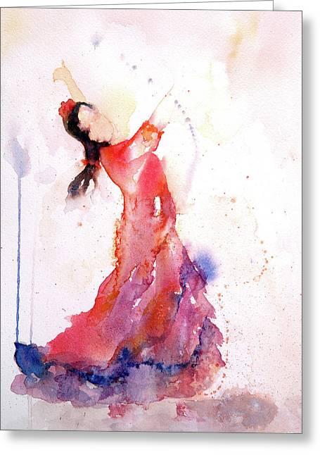 Flamenco Dancer Greeting Card by Lynne Furrer