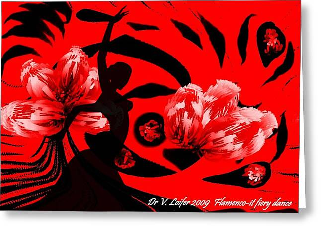 Flamenco-fairy Dance Greeting Card by Dr Loifer Vladimir