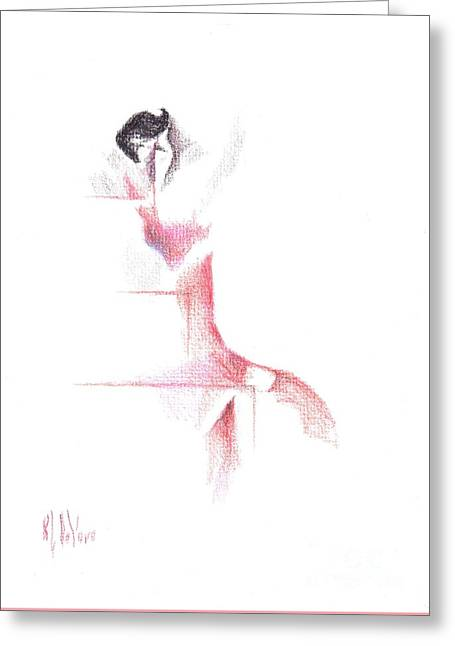 Greeting Card featuring the painting Flamenco Geometric Cc101 by Kip DeVore