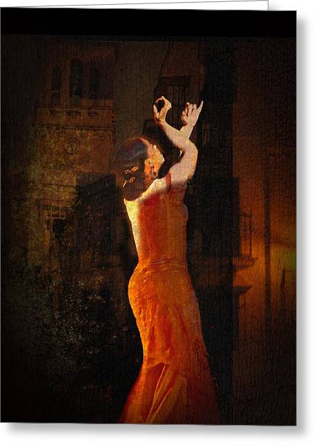 Flamenco In The Streets Greeting Card by tim Kahane
