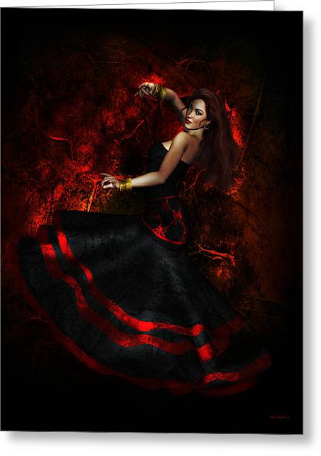 Dancer Art Greeting Cards - Flamenco Greeting Card by Shanina Conway