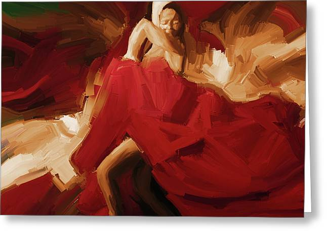 Greeting Card featuring the painting Flamenco Spanish Dance Painting 01 by Gull G