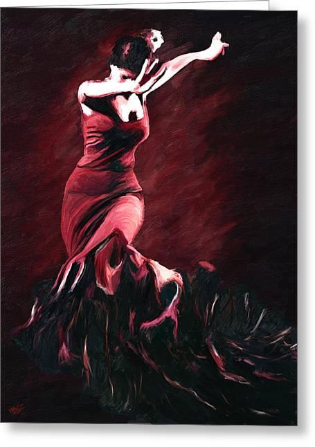 Flamenco Swirl Greeting Card by James Shepherd