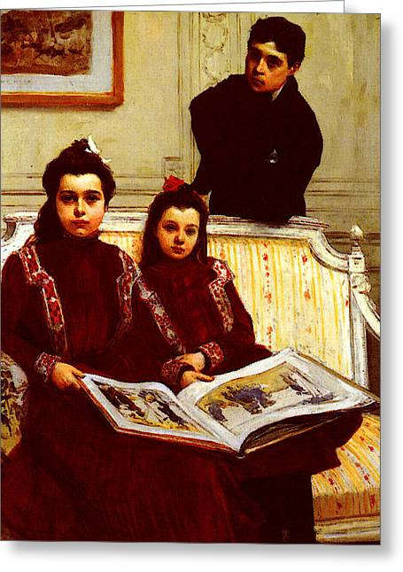Flameng Francois Family Portrait Of A Boy And His Two Sisters Greeting Card