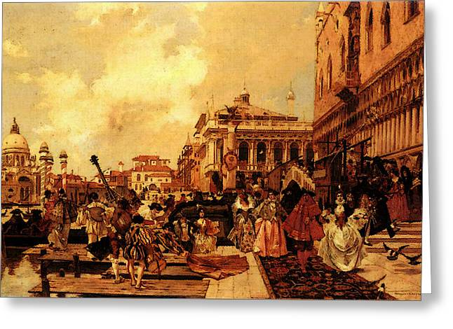 Flameng Francois Le Carneval A Venise Greeting Card