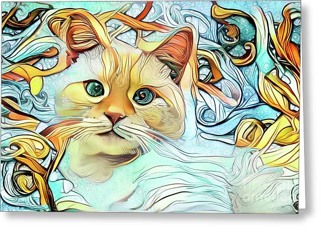 Flamepoint Siamese Cat Greeting Card by Amy Cicconi