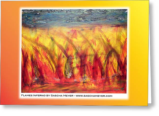 Flames Inferno On A Nice Background - Postcard Greeting Card by Sascha Meyer