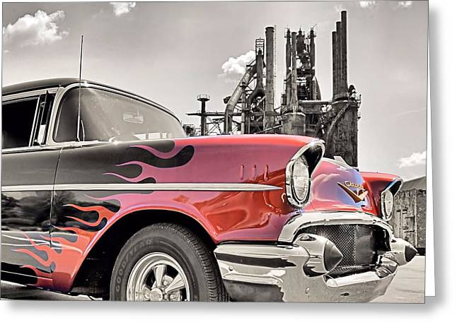 Flamin' 57 Greeting Card by DJ Florek