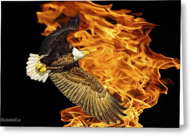 Flaming American Bald Eagle Greeting Card by LeeAnn McLaneGoetz McLaneGoetzStudioLLCcom