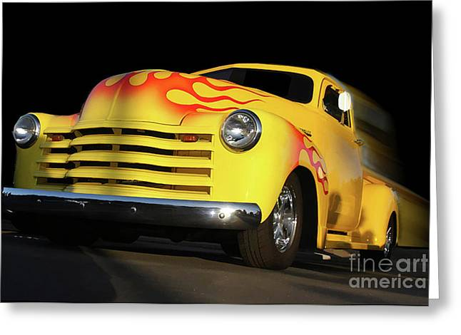 Flaming Chevy Greeting Card by Tom Griffithe