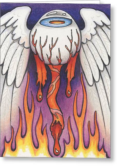 Flaming Flying Eyeball Greeting Card by Amy S Turner