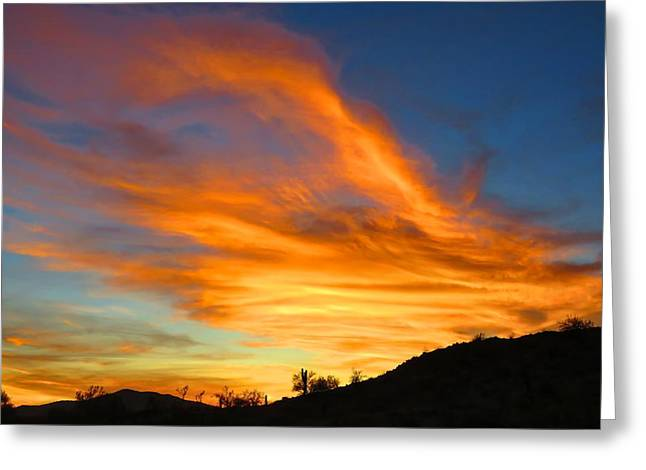 Flaming Hand Sunset Greeting Card