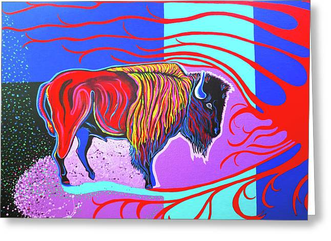 Flaming Heart Buffalo Greeting Card by Debbie Chamberlin