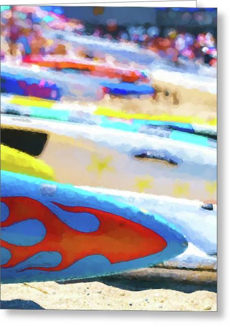 Flaming Kayak Watercolor 3 Greeting Card