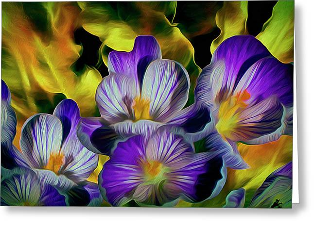 Greeting Card featuring the mixed media Flaming Leaves And Crocuses 10 by Lynda Lehmann