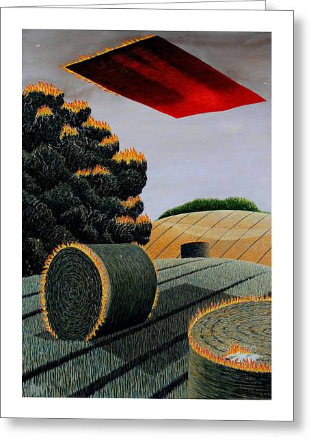 Flaming Magic Carpet Landscape Ride Greeting Card by Adrian Jones