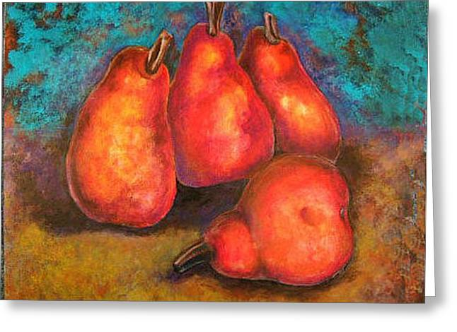 Greeting Card featuring the painting Flaming Pears by Rae Chichilnitsky