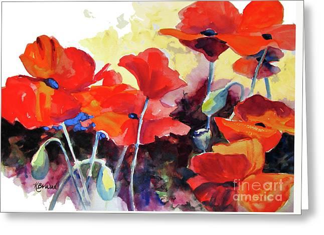 Flaming Poppies Greeting Card