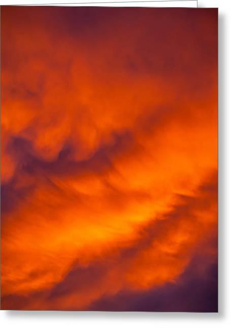 Flaming Skies Greeting Card by Az Jackson