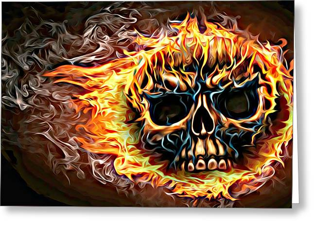 flaming skull Punk Gothic Biker Art Greeting Card