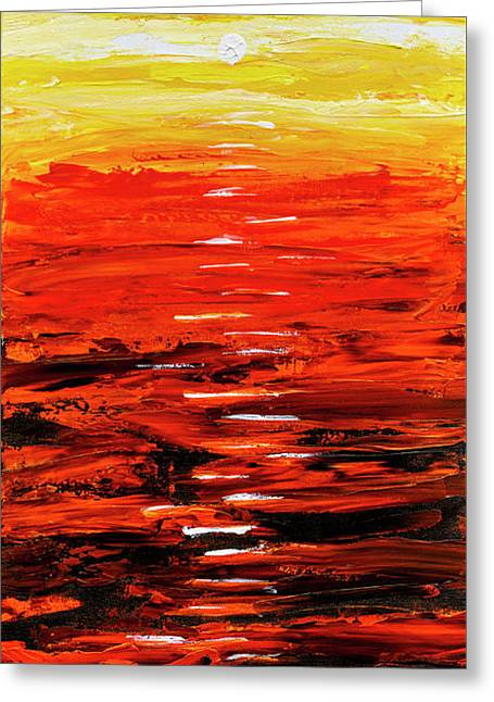 Greeting Card featuring the painting Flaming Sunset Abstract 205173 by Mas Art Studio
